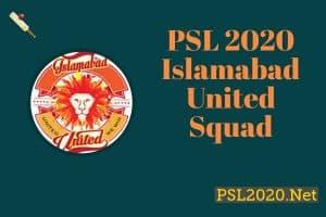 PSL 2020 Islamabad United Squad