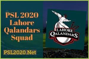 PSL 2020 Lahore Qalandar Squad