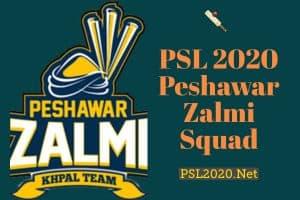 PSL 2020 Peshawar Zalmi Squad