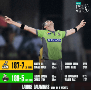 Lahore Qalandars Win Against Peshawar Zalmi