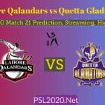 Lahore Qalandars vs Quetta Gladiators PSL 2020 Match 21 Prediction,